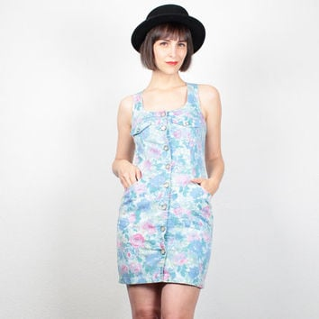 Vintage Floral Dress Mini Dress 1980s Open Back Overall Dress Jumper Light Blue Pink 80s Dress Dungarees Bodycon Dress XS Extra Small S