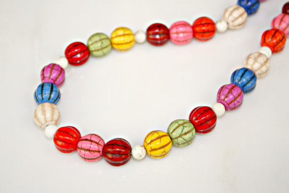 Chunky Rainbow Multi Color Pumpkin Style Turquoise and White Howlite Beaded Necklace by Mei Faith