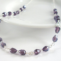 Purple Bridal Necklace, Purple Crystal Necklace in Sterling Silver with Clear Swarovski Crystal