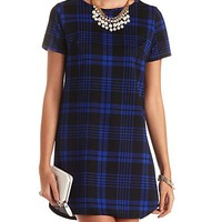 SHORT SLEEVE TEXTURED PLAID SHIFT DRESS