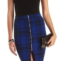 ZIP-UP TEXTURED PLAID PENCIL SKIRT