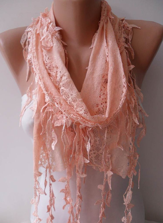 Light Salmon Laced Scarf with Salmon Trim Edge  - Speacial Laced Fabric...
