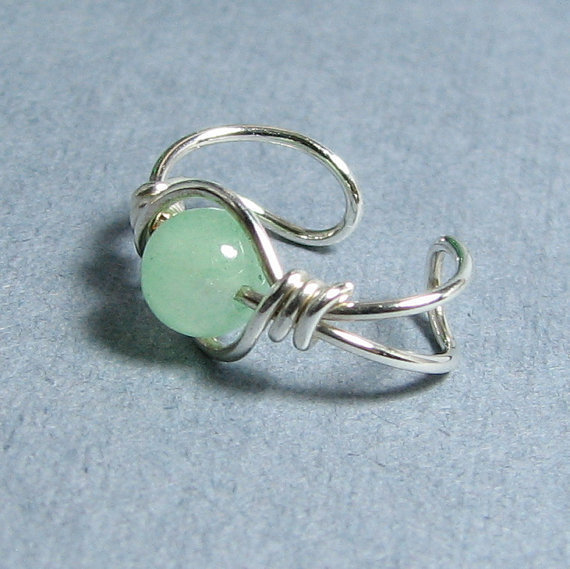 Sterling Silver Ear Cuff Green Aventurine gemstone