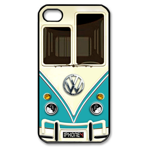 iphone 4 case Cute kawaii blue mini bus volkswagen with chrome logo Apple iPhone 4/4s Case (Black / white Color Case)