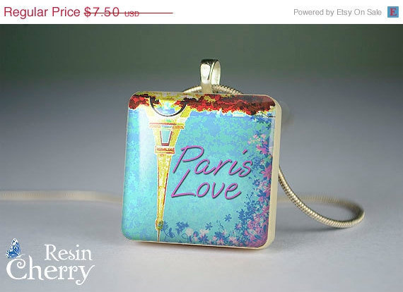 ON SALE: paris love scrabble tile necklace,photo charm,jewelry pendants,handmade resin pendants- W0328SP