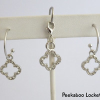 Matching Gemmed earrings & dangle charm - Accessory for Floating Charm Lockets