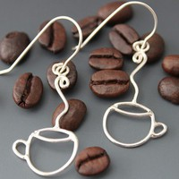 Sterling Earrings - Coffee Cups