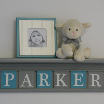 "Turquoise and Gray Name Shelves Customized for PARKER - 24"" Grey Shelf - 6 Letter Blocks in Teal and Gray, Awesome Baby Girl Nursery Decor"