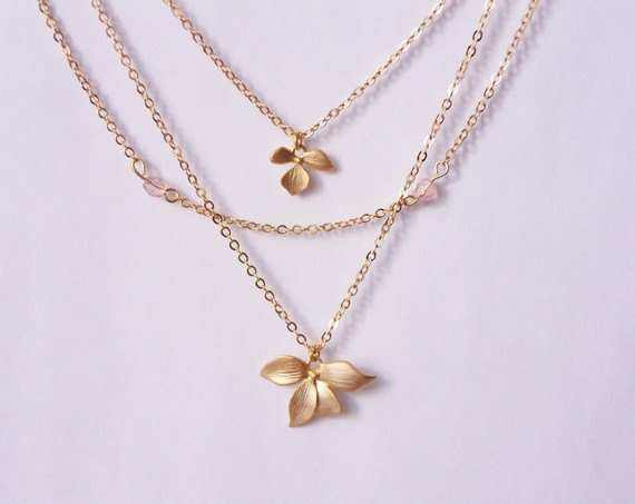 multistrand necklace, three layered necklace, layered necklace, orchid charm necklace, dainty necklace by SABOTAGEandCO