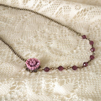 Plum Purple Flower Cabochon, Crystal, Antiqued Brass Necklace, Vintage Inspired