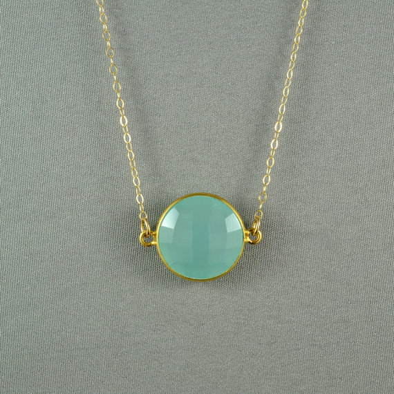 Aqua Blue Chalcedony Necklace, 24K Gold Vermeil Bezel, 14K Gold Filled Chain, Beautiful Stone Jewelry