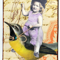 ACEO/ATC  Girl Riding Bird collage