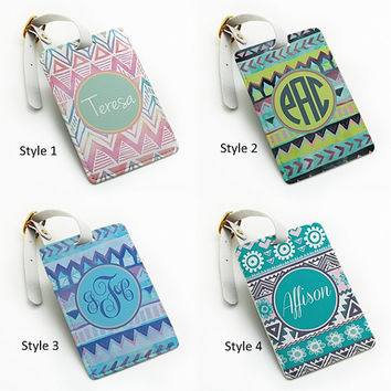 Personalized pu leather Luggage Tag, wedding favor tag, travel bag tag, aztec tribal custom name monogram initial, with strap (L16)