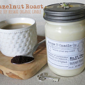 No.29 The Coffee House - Hazelnut Roast, soy beeswax candle with essential oils, natural organic soy wax candle, coffee, scented candle, eco