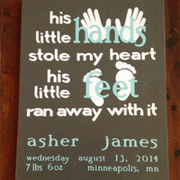 Baby Boy Canvas. Baby Shower Gift. Boy Nursery Decor. His Little Hands Stole My heart. His Little Feet Ran Away With It. 16x20