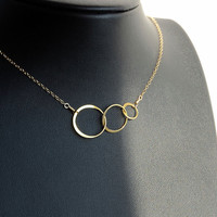 Vermeil Eternity Necklace on a gold filled chain, Three Ring Necklace, Eternity jewelry, minimalist jewelry, sterling jewelry