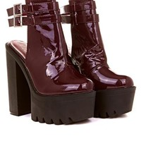 Safa Patent Double Buckle Boot in Burgundy