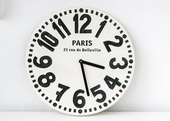 Wall clock -Paris- white edition shabby chic cottage style birch wood vintage style