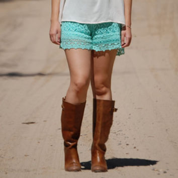Handmade Mint Green Crochet High Waisted Shorts