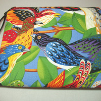 Padded Cosmetic Bag Zipper Pouch or Coin Purse in Bold Bird Print