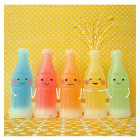 Art Print - Cute kawaii Soda Bottles