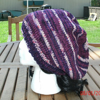 Slouch Hat - Hand Knit Hat - The Rasta in Purple Stripe - rasta hat - Unisex Knit Hat