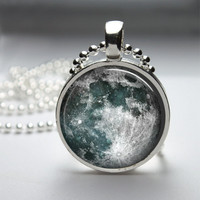 Round Glass Bezel Pendant Moon Pendant Moon Necklace Photo Pendant Art Pendant With Silver Ball Chain (A3634)