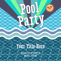 Pool Party Invitation - Retro Style Card Design - Printable File