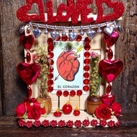 Day-of-the-Dead Miniature Love Shrine / El Corazon Wooden Nicho / Folk Art Heart Clothespin Altar / Handmade Dia de los Muertos Retablo