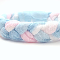 Bleached Woven Bracelet Recycled T Shirt Bracelet Braided Upcycled Jewelry Pastel Pink and Blue
