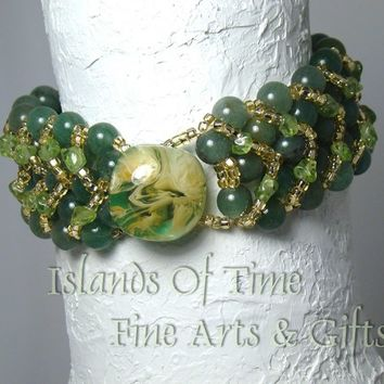 Green Natural Aventurine and Peridot Gemstone Vintage Button Bracelet
