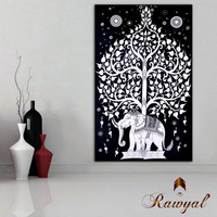 Elephant under tree Tapestry, Indian Hippie Wall Hanging , Bohemian Wall Hanging, Bedspread Beach Coverlet throw Decor Beach blanket
