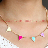 colorful Triangle necklace, geometric jewelry