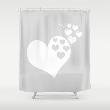 Gray White Hearts of Love Shower Curtain by BeautifulHomes