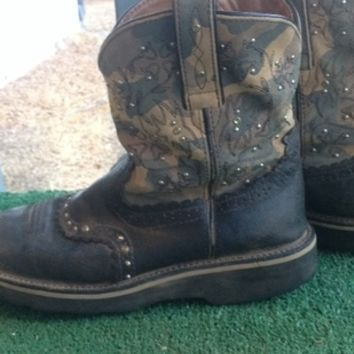 Camo ariat fatbaby cowgirl cowboy boots