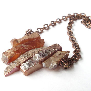 Agate Spikes Necklace, Brown Sticks On Copper Chain, Orange Graduated Fan Stick Chunky Necklace, Tribal, Boho Jewelry