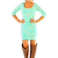 Aztec Madness Dress: Cream/Mint
