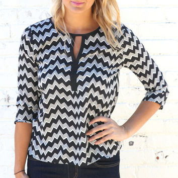 Wavy Chevron Keyhole Neck Blouse - Black/White – H.C.B.