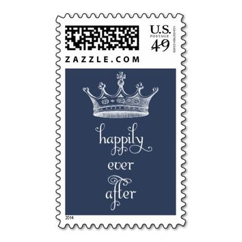 Happily Ever After Crown Navy Blue Wedding Stamp