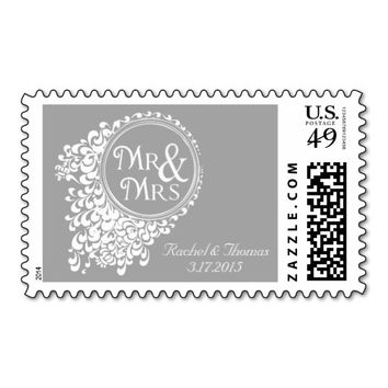 Mr & Mrs Vintage Gray Wedding Stamps