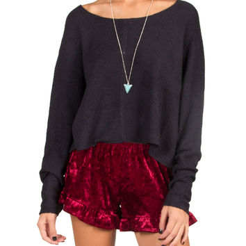 Lush Clothing - Comfy Cropped Sweater - Navy - Navy /