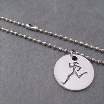RUNNER GIRL Round Pendant Bracelet on Stainless Steel Ball Chain or Leather with Sterling Silver Plated Clasp