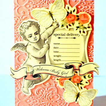 Baby Girl Handmade Greeting Card, Baby Vintage Inspired Card, Handmade One of a Kind, Blank Infant Card, Victorian Baby Card, Welcome Baby