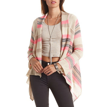 STRIPED CROPPED CASCADE CARDIGAN SWEATER