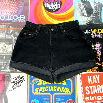 Vintage LEE High Waisted Shorts - 80s Black Stone Washed Jean Shorts - High Waist, Frayed, Rolled Up, Cuffed Denim Shorts Size 8 10 Medium M
