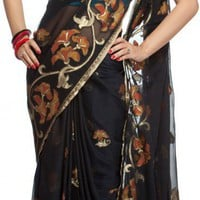 Black Banarasi Sari with All-Over Flowers Woven by Hand