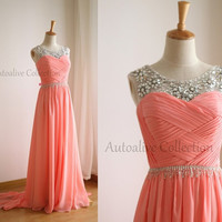 Coral Pink Chiffon Simple Wedding Dress/Bridesmaid Dress/Prom Dress V Back Sheer Beading Neckline