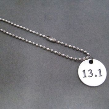 DISTANCE Round Pendant Bracelet on Stainless Steel Ball Chain or Leather with Sterling Silver Plated Clasp - Choose 5K, 10K, 13.1, 26.2, XC or Runner Girl