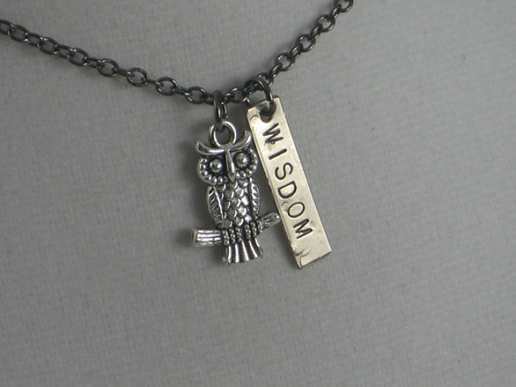 OWL WISDOM Necklace - Owl Jewelry - Wise Jewelry - Wisdom Necklace with rectangle pendant on 18 inch gunmetal chain - Teacher Appreciation