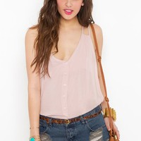 Button Up Tank - Blush
